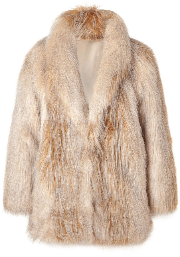 Juicy Couture Blonde Striped Faux Fur Jacket