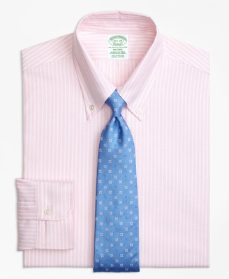 Brooks Brothers Original Polo Button-Down Oxford Milano Slim-Fit Dress Shirt, Ground Stripe