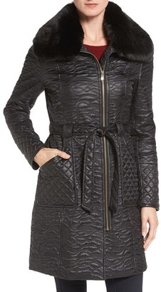 Women's Via Spiga Paisley Quilted Coat With Faux Fur Collar $210 thestylecure.com