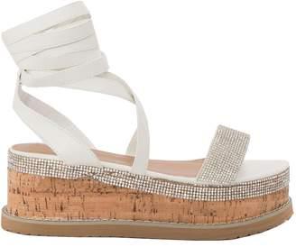 102d6e932d0 Missy Empire Missyempire Lyric White Diamante Vamp Espadrille Flatform  Sandals