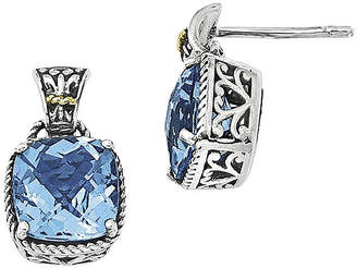 Couture FINE JEWELRY Shey Genuine Blue Topaz Sterling Silver with 14K Yellow Gold Earrings
