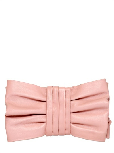 Bow Nappa Leather Clutch