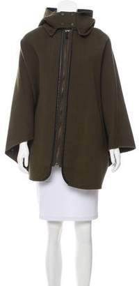 Vince Wool Leather-Trimmed Cape
