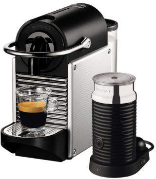 Nespresso NEW by Delonghi EN120SAE Pixie + Aeroccino Capsule Coffee Maker: Silver