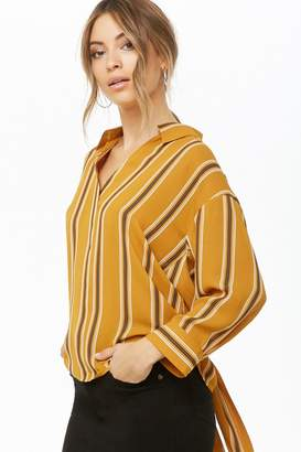 Forever 21 Chiffon Striped Tie-Back Top