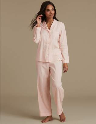 Marks and Spencer Pure Cotton Textured Long Sleeve Pyjama Set