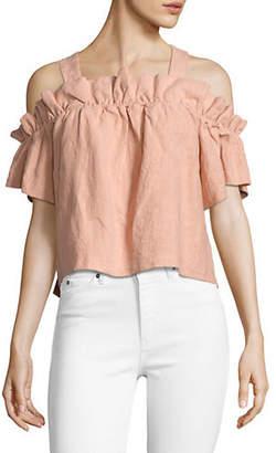 Saylor Myra Off-The-Shoulder Short-Sleeve Linen Top