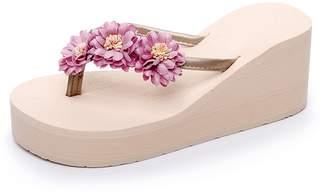 4470aff9e3c6a fereshte Women s Beach Thong Platform Wedges Flip-Flops Lightweight Heeled  Sandals with Flower Light Blue