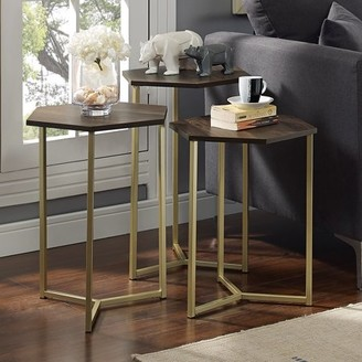 Manor Park Modern Transitional Hex Wood and Metal Nesting Side Tables, set of 3- Dark Walnut/ Gold