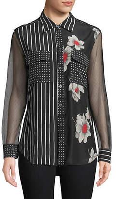 Equipment Mixed-Print Silk Button-Down Shirt