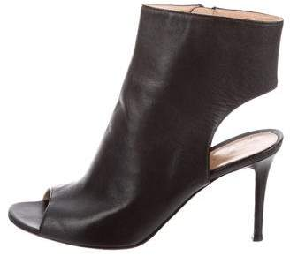 Gianvito Rossi Leather Peep-Toe Ankle Boots