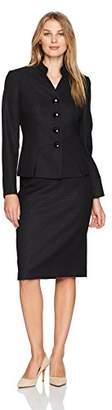 Le Suit Women's Tweed 4 Button Inverted Notch Collar Skirt Suit (2)