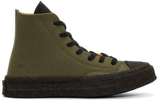 J.W.Anderson Khaki and Orange Converse Edition Felt Chuck 70 Hi Sneakers