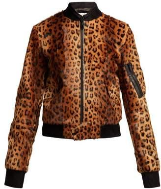 Saint Laurent Leopard Print Goat Hair Bomber Jacket - Womens - Leopard