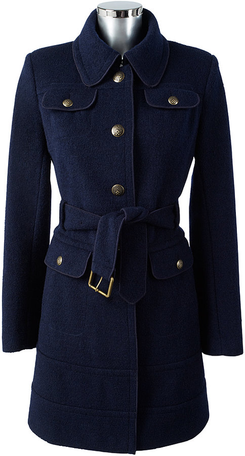 Military Boiled Wool Coat Navy