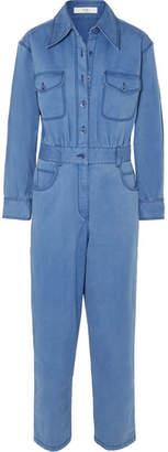 Tibi Washed Cotton-blend Twill Jumpsuit - Indigo