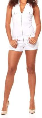 VIP Jeans for Women Short Sexy Slim Fit Stretch Denim Romper Junior or Plus sizes White or Blue