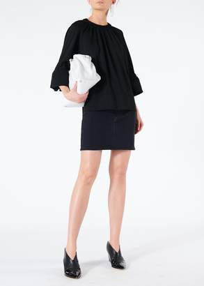 Tibi Astor Knit Shirred Top with Rib Cuffs