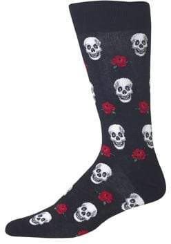 Hot Sox Skulls and Roses Crew Socks