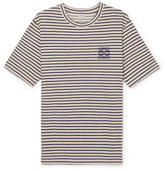 Loewe Logo-Embroidered Striped Cotton And Linen-Blend Jersey T-Shirt