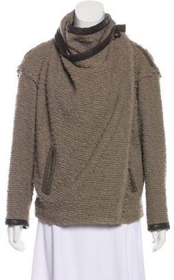 Isabel Marant Leather-Trimmed Textured Cardigan