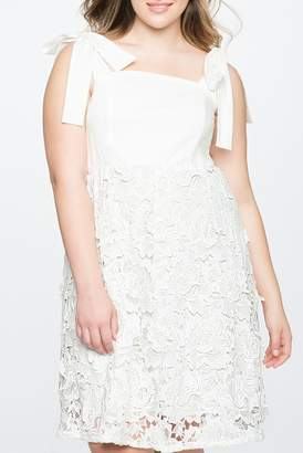 ELOQUII 3D Lace Fit and Flare Dress (Plus Size)
