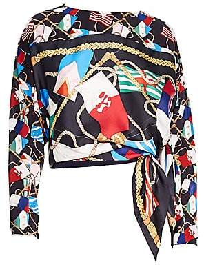 Sandro Women's Lauren Printed Silk Top