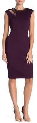 Modern American Designer Cutout Embellished Cap Sleeve Dress