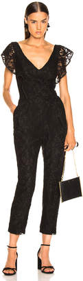 Enza Costa Floral Lace Ruffle Jumpsuit