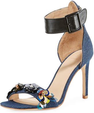 Bill Blass Sylvie High-Heel Denim Sandals