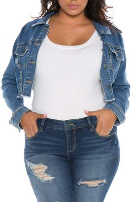 SLINK Jeans Fray Hem Crop Jacket