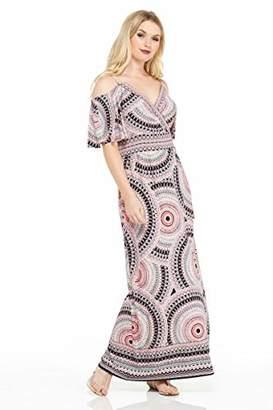 London Times Women's Petite Cold Shoulder Flutter Sleeve Inset Waist Maxi Dress