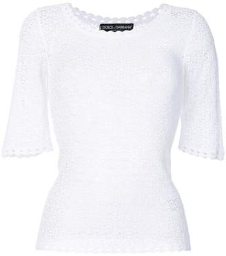 Dolce & Gabbana crochet scoop neck sweater