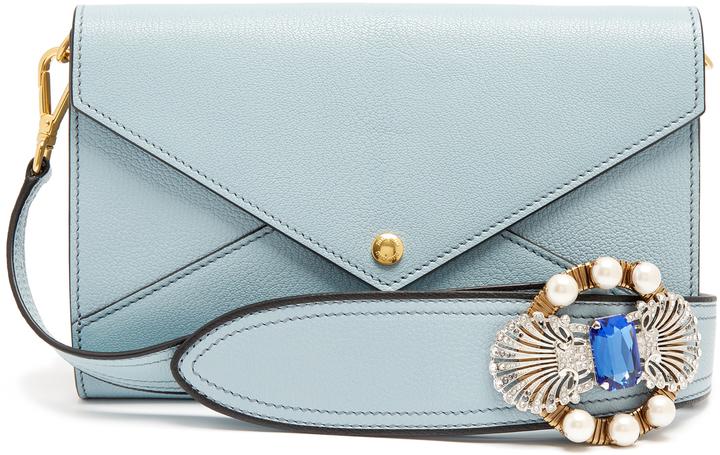 Miu MiuMIU MIU Embellished-strap grained-leather envelope bag