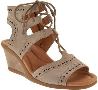 Earth Leather Lace-up Peep-Toe Wedge Sandals - Daffodil