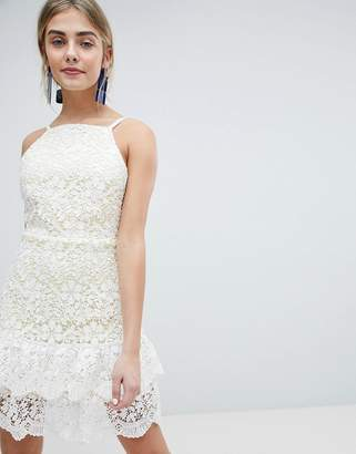 Dolly & Delicious All Over Cutwork Lace Skater Dress With Peplum Hem