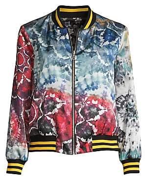 Alice + Olivia Women's Lonnie Reversible Oversized Floral Tie Dye Bomber Jacket