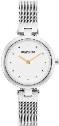 Kenneth Cole New York Ladies Silver Mesh Bracelet Watch 28mm