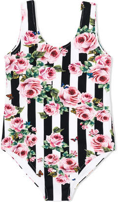 Dolce & Gabbana striped roses swimsuit