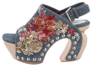 Alexander McQueen Embellished Denim Sandals