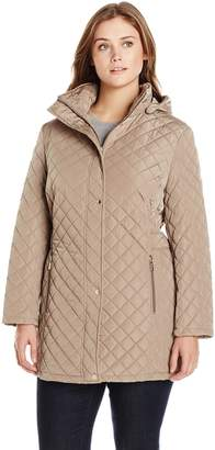 Calvin Klein Women's Plus-Size Classic Quilted Jacket with Side Tabs