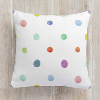 Watercolor Dots Square Pillow