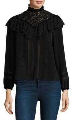 Rebecca Taylor Long-Sleeve Lace Top