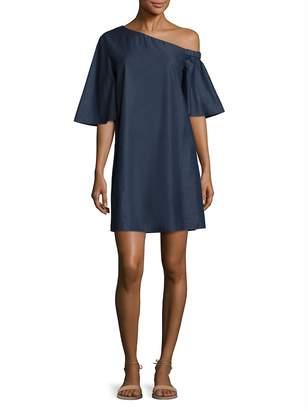 Tibi Women's Cotton Dark Denim One-Shoulder Dress
