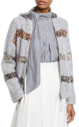 Brunello Cucinelli Pailletteed-Striped Cozy-Knit Hooded Cardigan