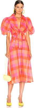 Silvia Tcherassi Perth Dress in Orange Checkered | FWRD