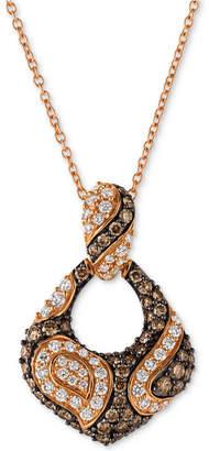 LeVian Le Vian Chocolatier Diamond Open Loop 18' Pendant Necklace (3/4 ct. t.w.) in 14k Rose Gold