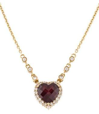 14K Garnet & Diamond Pendant Necklace
