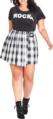 City Chic London Check A-Line Skirt