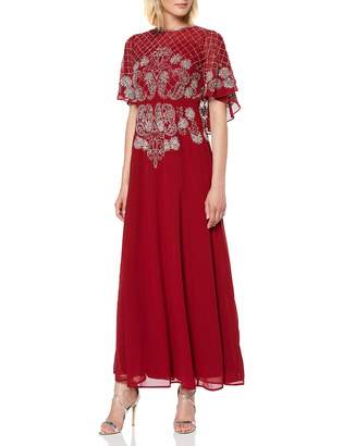 Frock and Frill Women's HAVA Short Sleeve Embellished Cape Maxi Party Dress